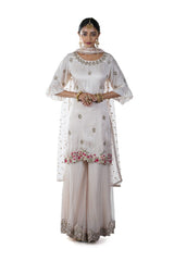 Light Peach Floral Hand Embroidered Sharara Set