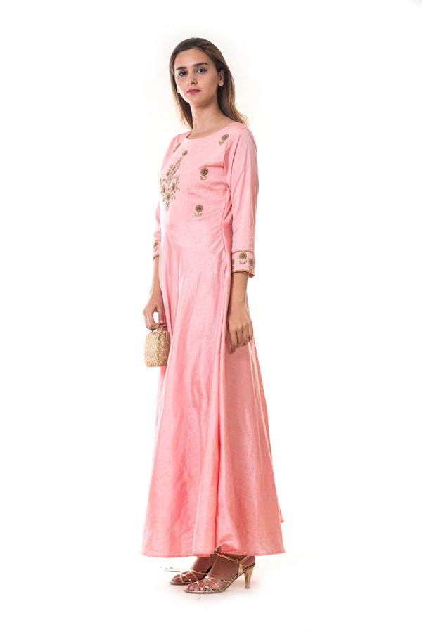 Pink Floral  Hand Embroidered Silk Anarkali Gown