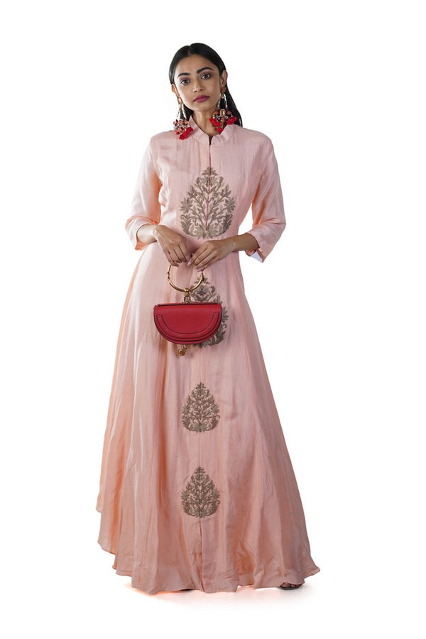 Peach Hand Embroidered Anarkali Gown