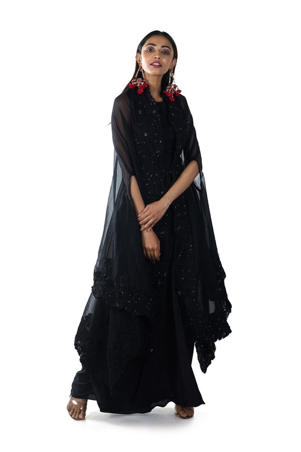 Black Crop Top & Draped Skirt Set with a Hand Emroidered Tie-Up Cape