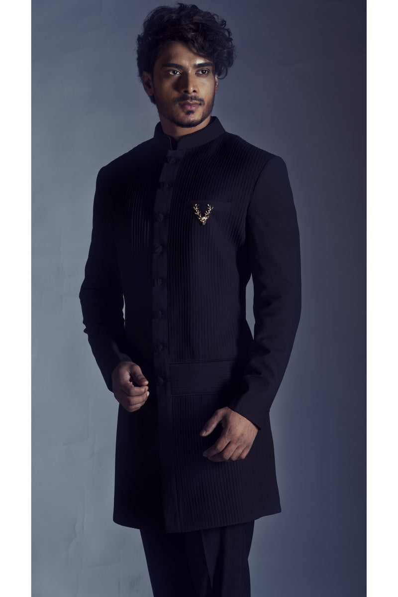 True Black Pintucks Sherwani Ensemble