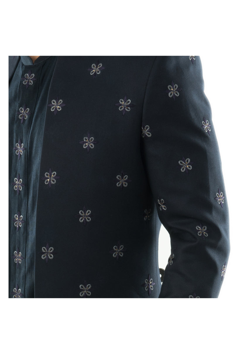 Navy Blue Sherwani Ensemble