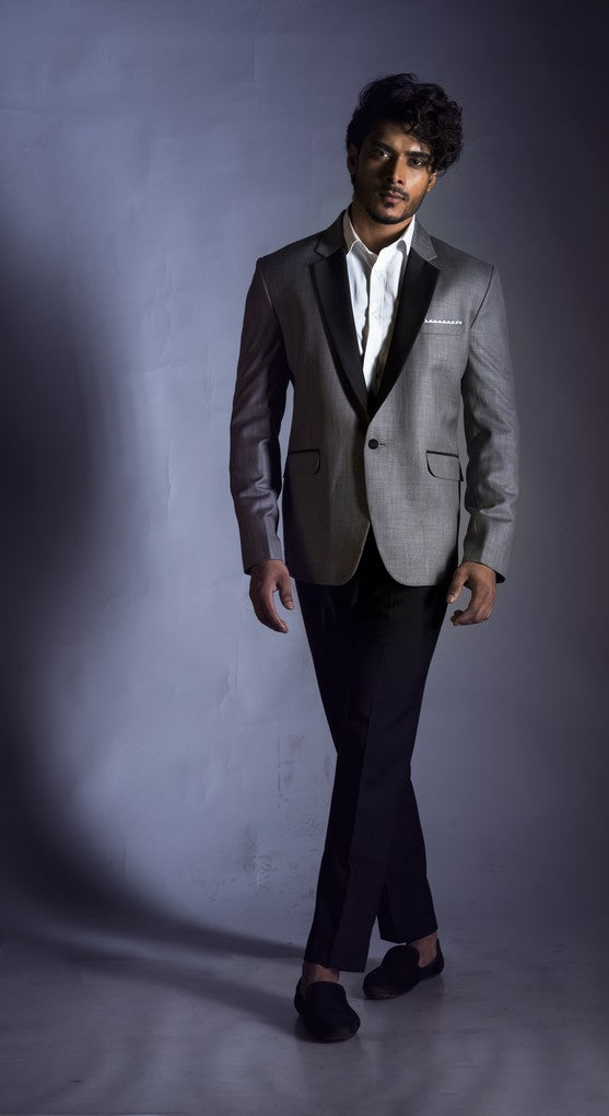 Slubbed Grey Blazer with Half Black Tux Lapel Set