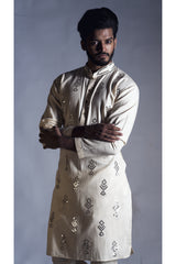 Straight Cut Kurta in Cream with Traditional Mirror work Set