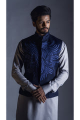 Navy Blue Embroidered Nehru Coat