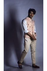 Nehru Coat in Powder Pink with Contrast Embroidery