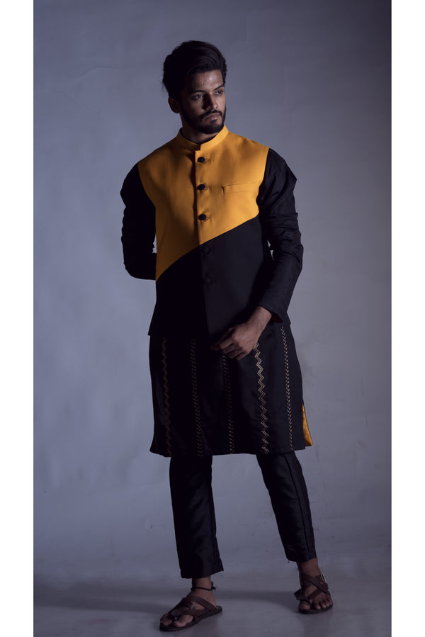Nehru Coat in Yellow and Black Colour Block