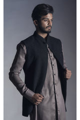 Open Front Chikankari Nehru Coat in Jet Black
