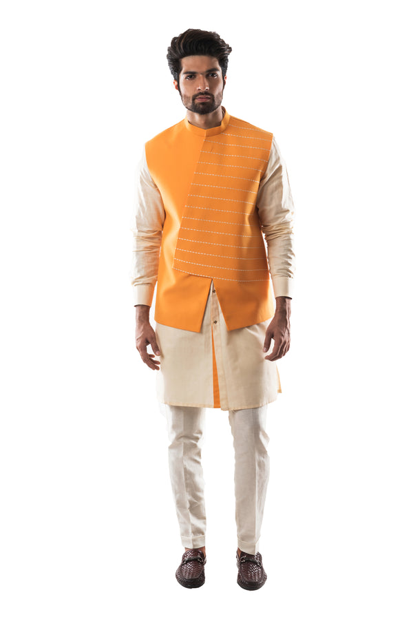 Chrome Yellow Nehru Kurta Set