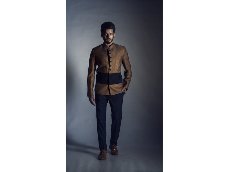 Tan Prince Coat with Black Narrow fit Trouser