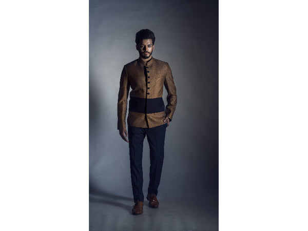 Prince Coat in Tan with Navy Blue Trouser