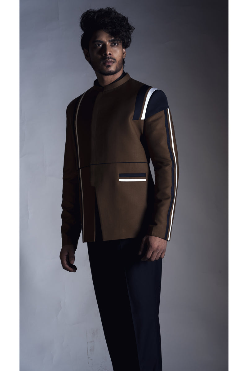 Tan Prince Coat with  with Black Narrow fit Trouser