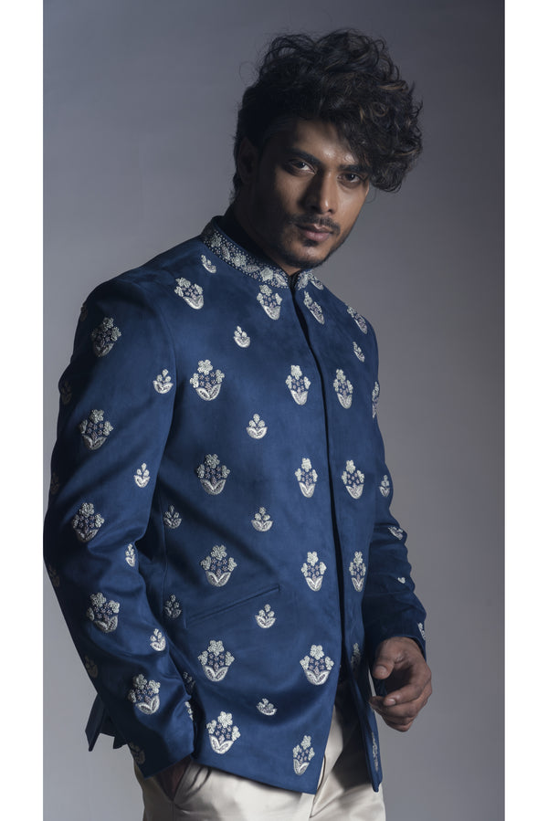 Prince Coat in Blue Suede with Narrow fit Cream Trouser