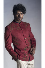 Red Velvet Prince Coat with Cream trouser