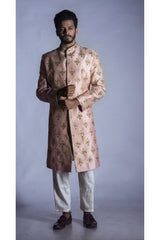 Light Pink Raw Silk Sherwani  with Churidar