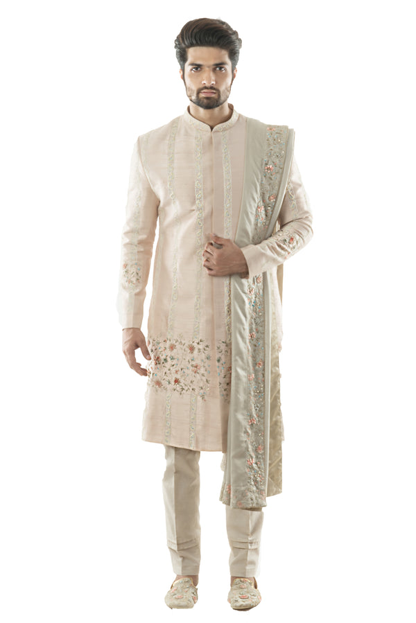 Powder Pink Sherwani Ensemble