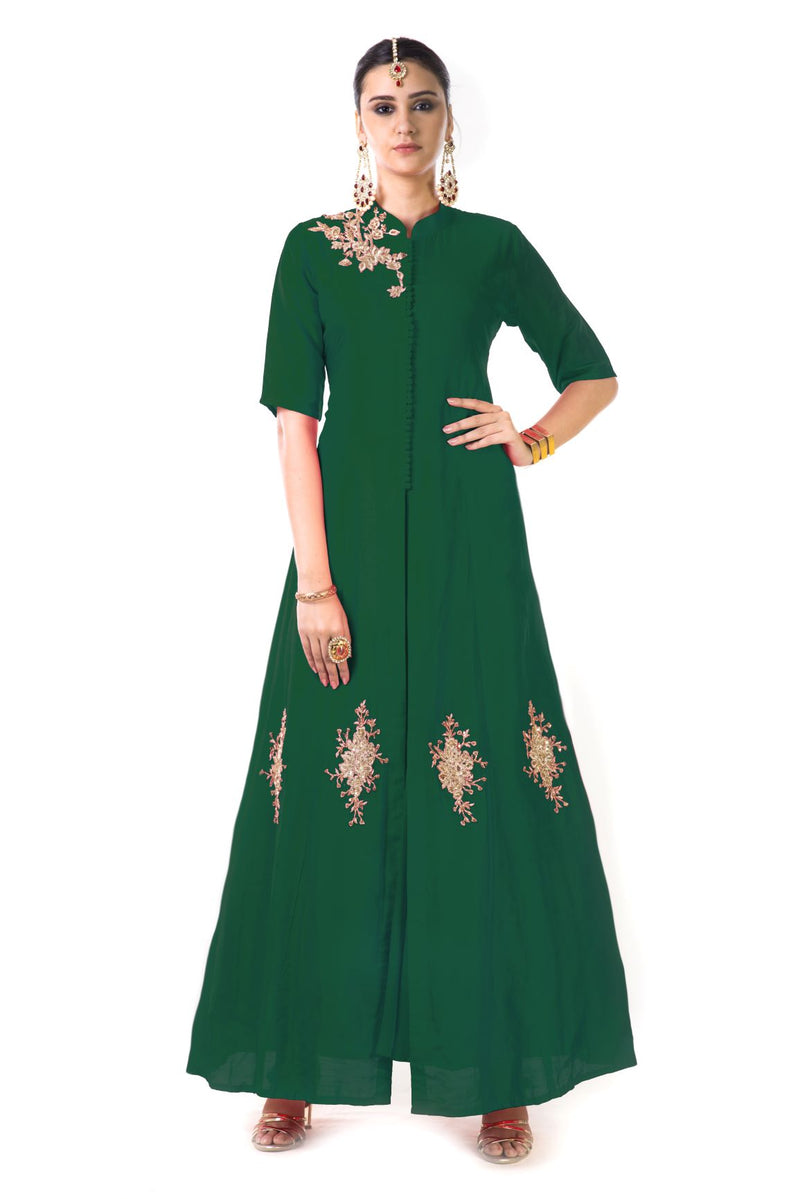 Hand Embroidered Jacket Style Anarkali Gown