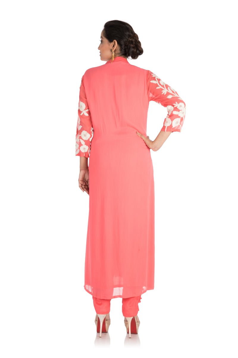 Punch pink colour suit