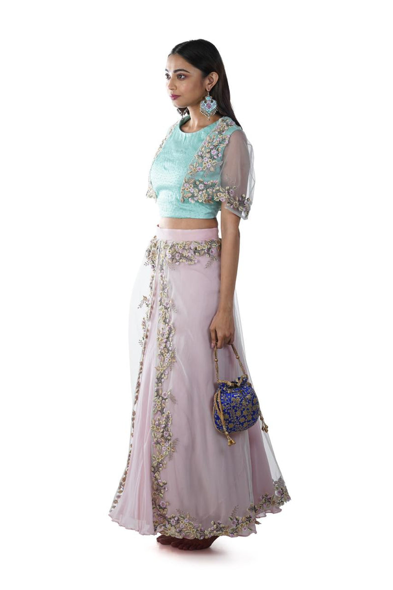 Floral Embroidered Aqua Blue Cape Blouse paired with a Blush Pink Layered Lehenga