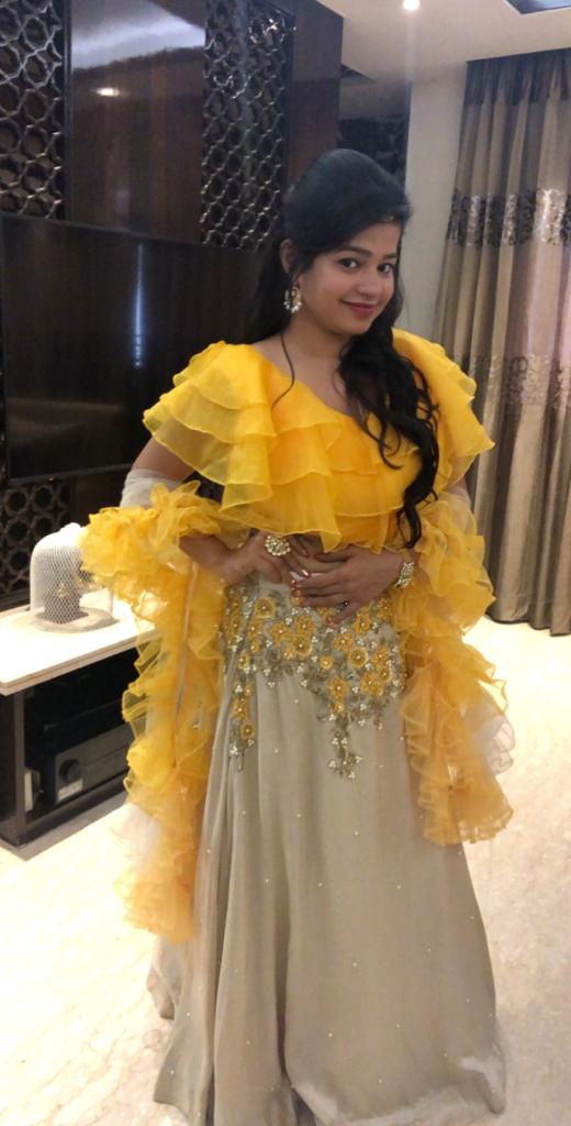 Yellow Ruffle Lehenga Set