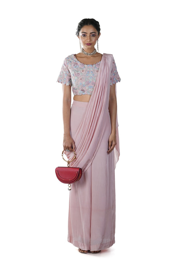 Blush Pink Hand Embroidered Palazzo Set