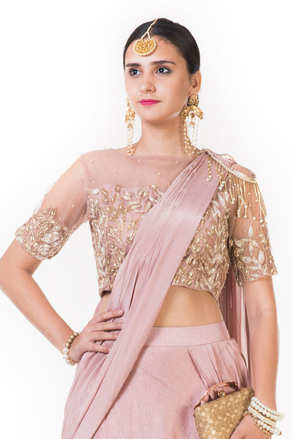 Dark Onion Fringe Lehenga with a Heavily Embroidered Blouse