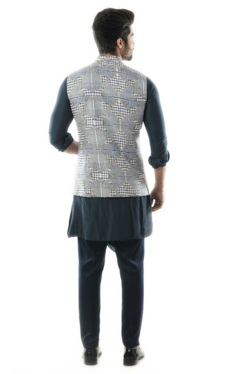 Navy Blue Draped Kurta Set paired with a Checks Printed Jacket