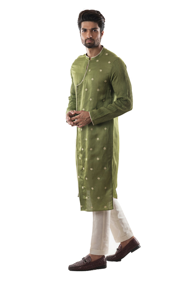Green Overlap Kurta Set