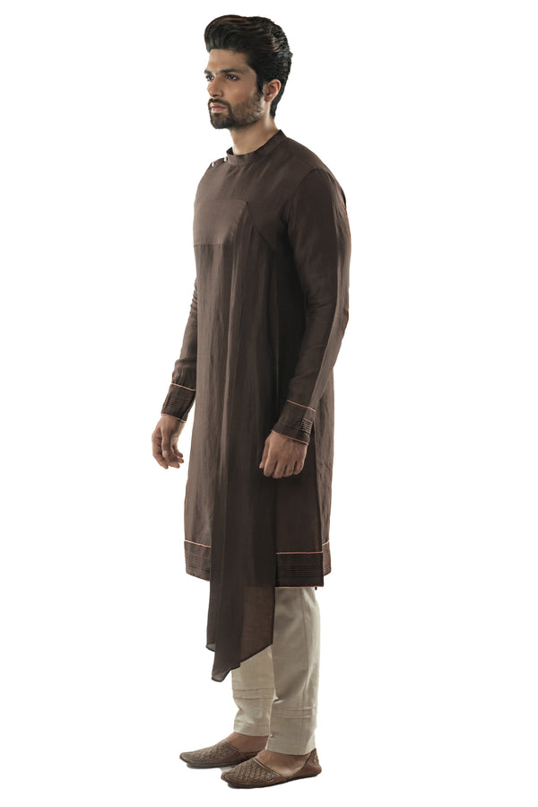 Soil Brown Drape Kurta Set