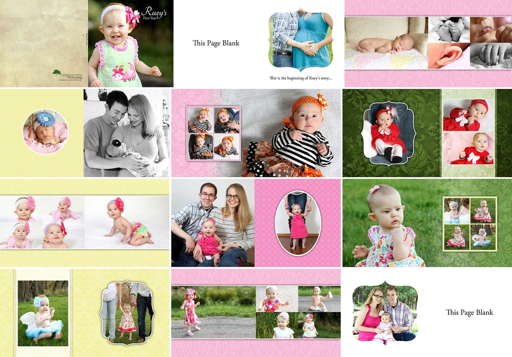 Album Template Baby Girls First Year BoxDrops bySJP – Template for Photo Album