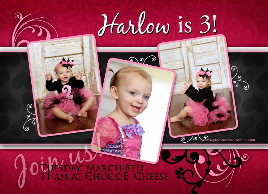Card Template: Hot Pink Girl Birthday Card