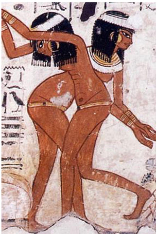 tomb paintings of Egyptians dancing while wearing waist beads