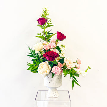 Captivating Claudette - Valentine's Day Arrangement in Pinks, Reds, and White