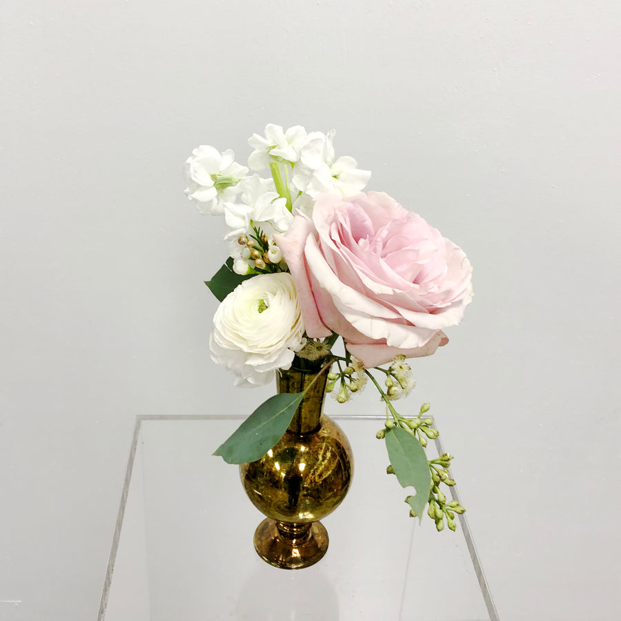 Blush and White | Petite Cocktail Centerpiece |  - Lizzie Bee's Flower Shoppe