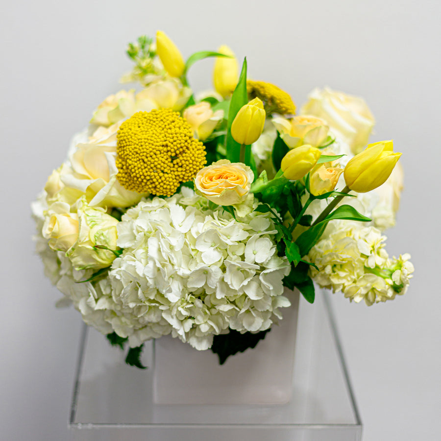 The Honey Bee - Florist Design in White + Yellow | Fresh Arrangement - Lizzie Bee's Flower Shoppe