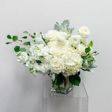 Sweet Memories - Florist Design in All-White Blooms | Fresh Arrangement - Lizzie Bee's Flower Shoppe