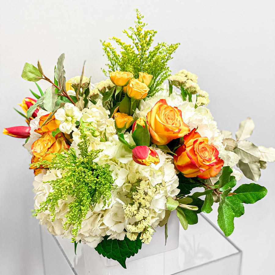 Zest of Life - Seasonal Florist Design in Orange + White Blooms | Local Arrangements - Lizzie Bee's Flower Shoppe