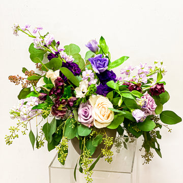 Morning Frost - Winter Seasonal Florist Design in Purples + Blues | Fresh Arrangement - Lizzie Bee's Flower Shoppe