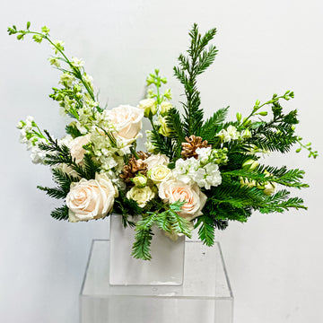 Snowcaps - Winter Seasonal Florist Design in White + Pine Cones