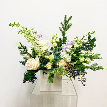 BEE Cool - Winter Seasonal Florist Design in White + Cool Tones | Fresh Arrangement - Lizzie Bee's Flower Shoppe