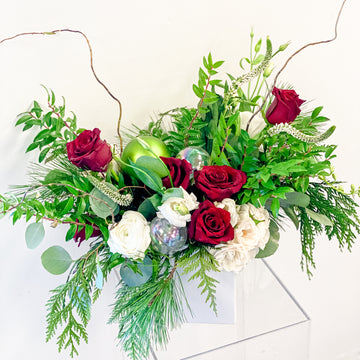 Deck The Halls - Winter Seasonal Florist Design in Reds, Whites + Ornaments | Fresh Arrangement - Lizzie Bee's Flower Shoppe