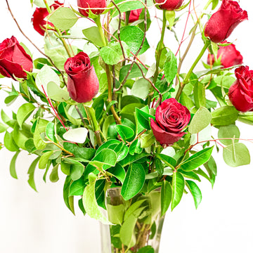 Valentine's Pre-Order: Dozen Long Stem Red Rose Vase Arrangement | Fresh Arrangement - Lizzie Bee's Flower Shoppe