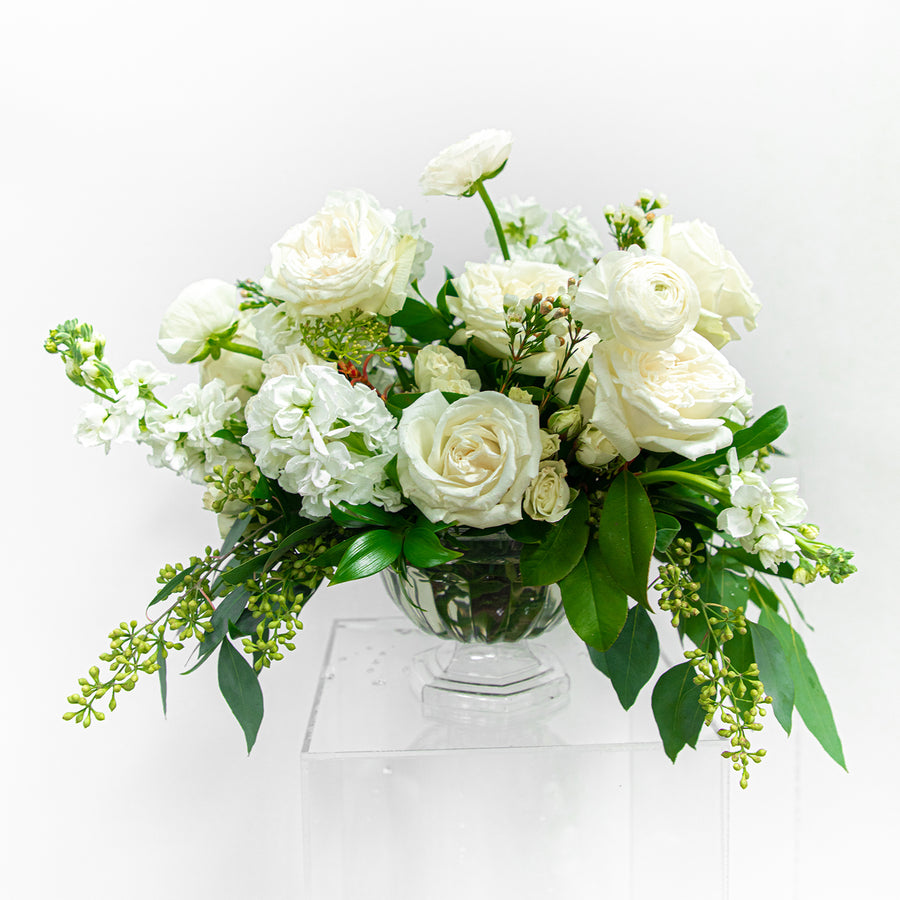 White and Green | Large Compote Centerpiece | HexBee - Lizzie Bee's Flower Shoppe
