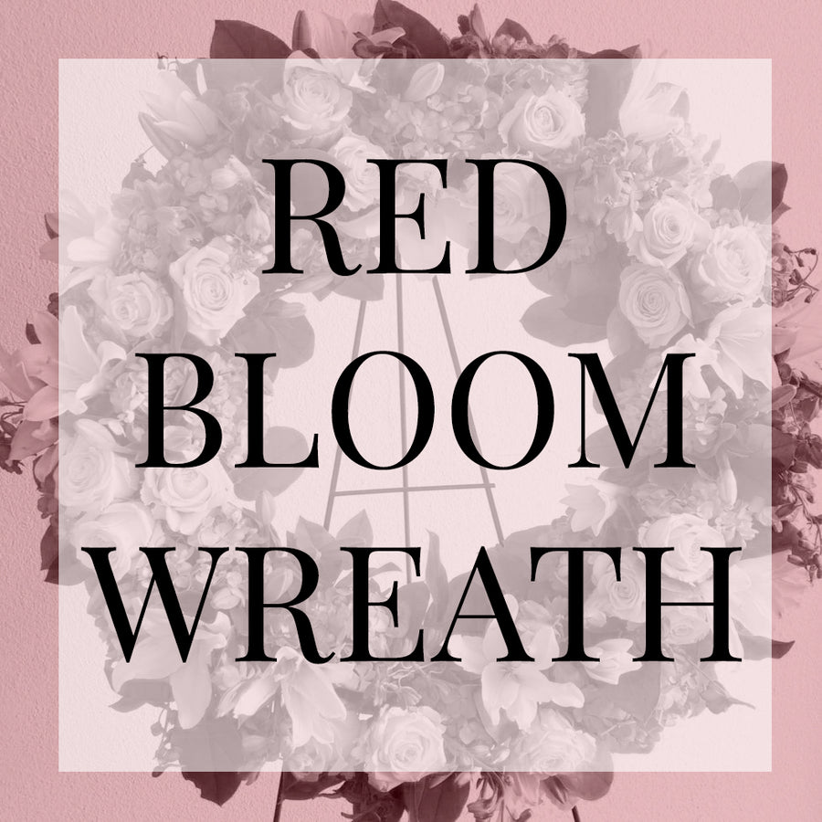 Sympathy Wreath Design - Red Blooms | Sympathy Arrangement - Lizzie Bee's Flower Shoppe