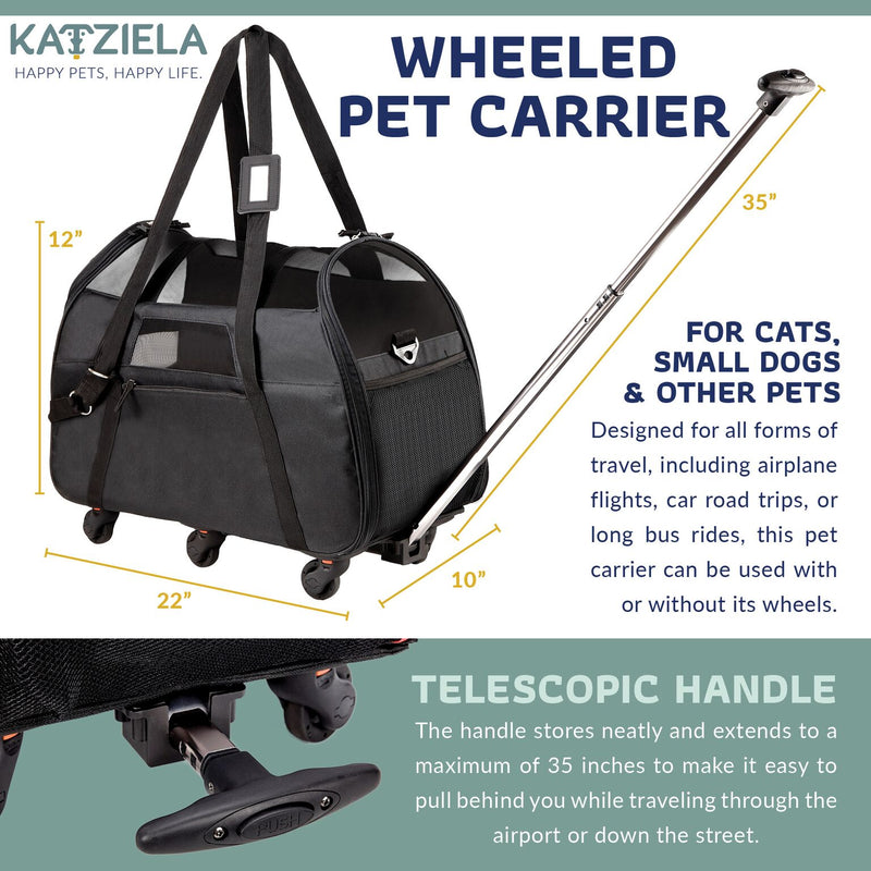 Katziela Black Airline Approved Wheeled Carrier - Toys For A Pet