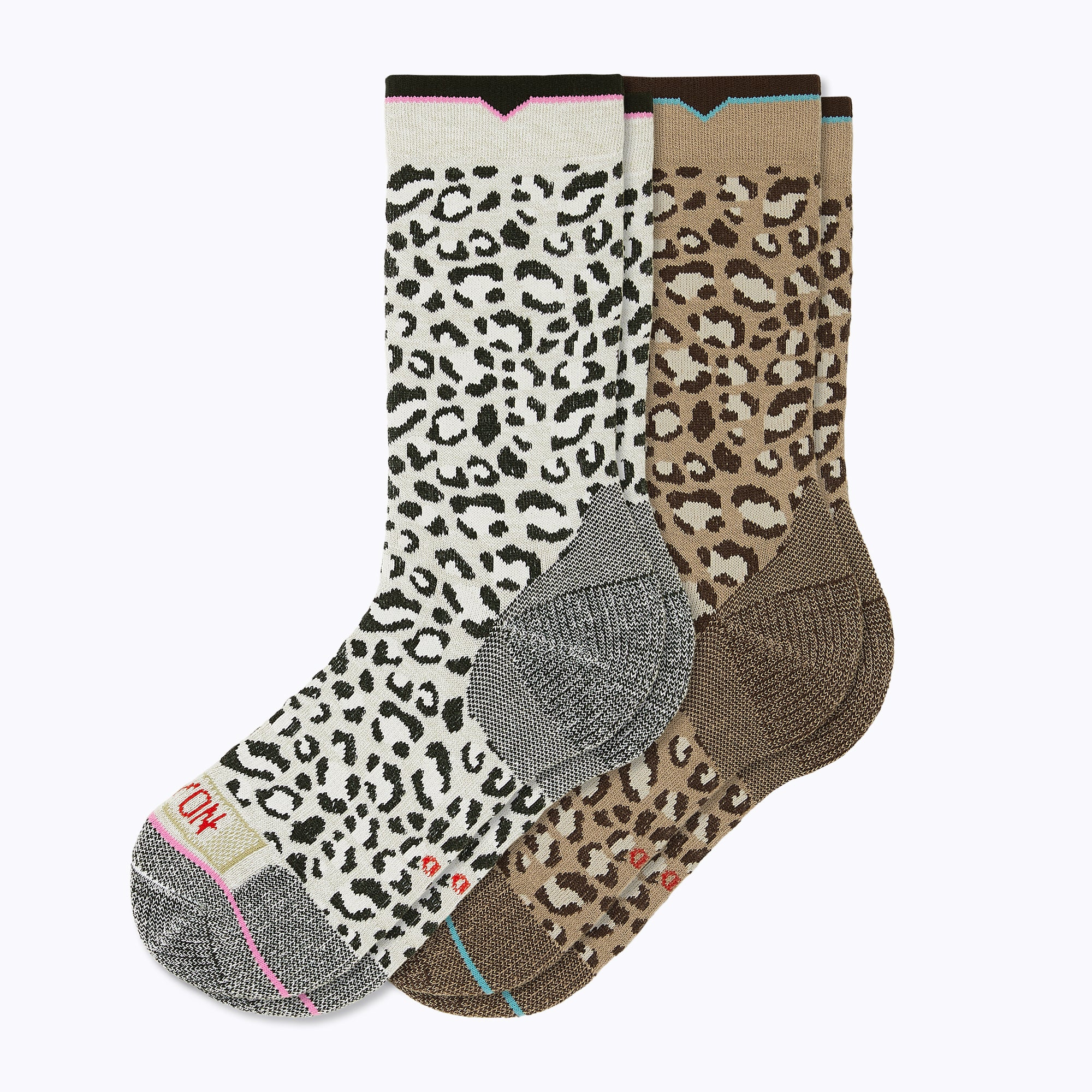 Leopard 2 Pack Mix Women's Crew Socks - Mix by Canyon Socks