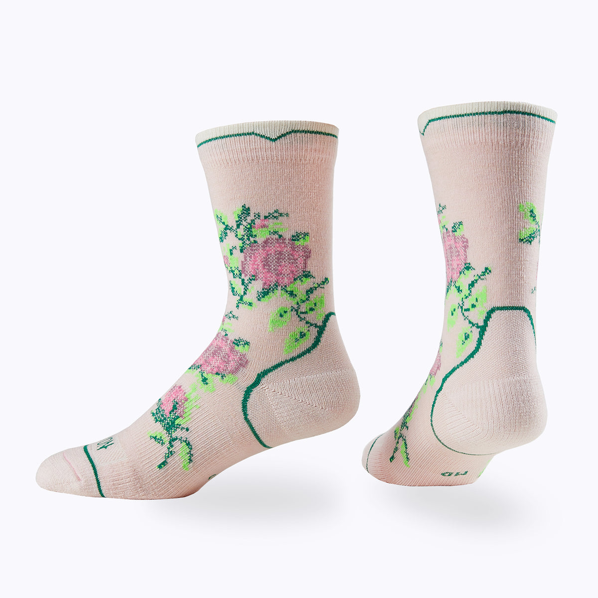 Floral Point Women's Crew Socks -  by Canyon Socks