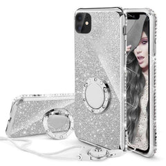 Glitter Diamond Cases for iPhones with Crystal Bling Ring Kickstand