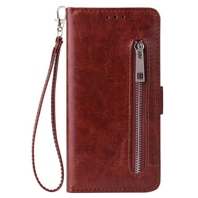 Huawei Leather Zipper Wallet Phone Case - Brown