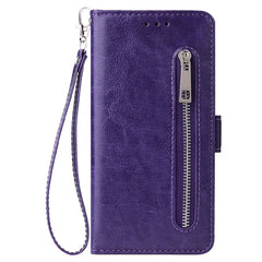 Huawei Leather Zipper Wallet Phone Case - Blue